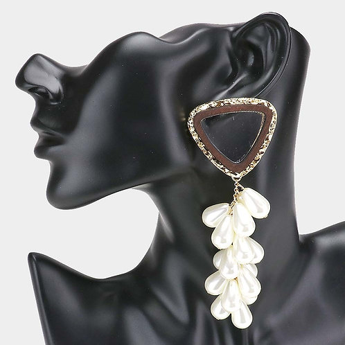 Clear  Lucite  Pearl Cluster Vine Earrings
