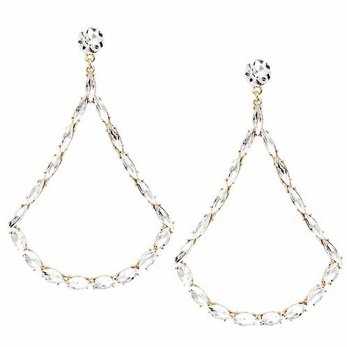 Oversized Trapeze Shape Glass Drop Earrings