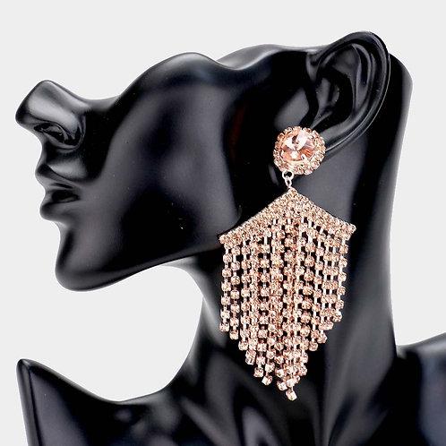 Crystal  Rhinestone Multi Strand Drop Earrings