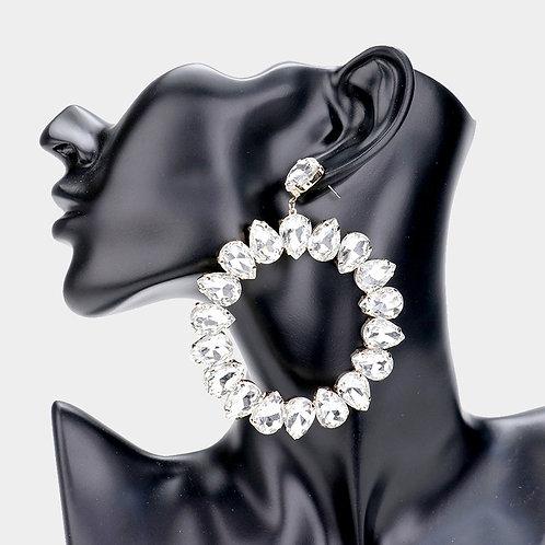 Teardrop Glass Crystal Circle Evening Earrings