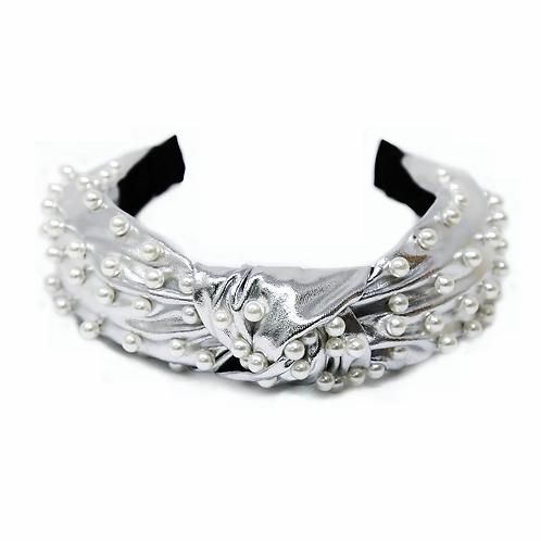 Silver Metallic Pearl Headband