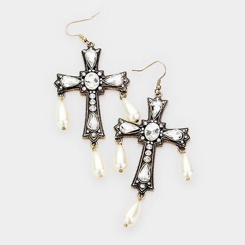 Embellished Pearl Cross Earrings