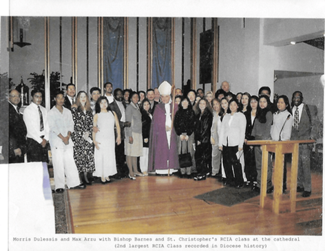 Morris Dulessis and Max Arzu with Bishop Barnes and St. Christopher's RCIA class at the cathedral (2nd largest RCIA Class recorded in Diocese history)