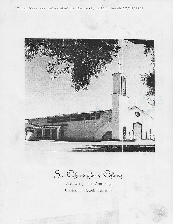 First Mass was celebrated in the newly built church 12/14/1958