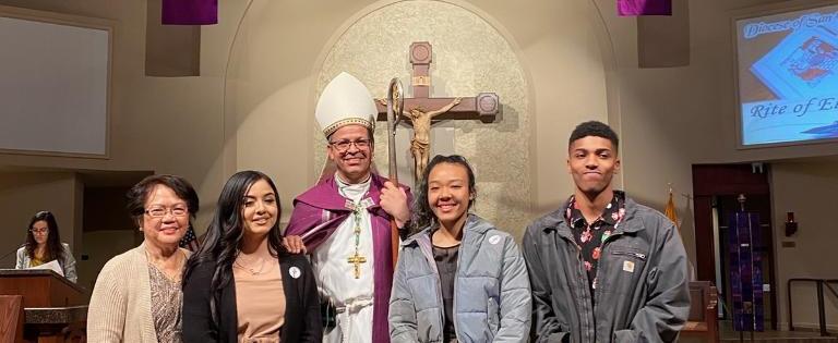 Bishop Alberto Rojas and CTR 2020 RCIA Elect.