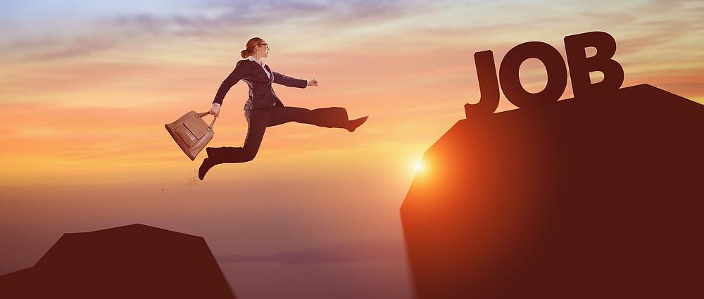 Woman taking a leap