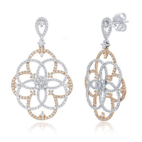 14k Rose White Gold Diamond Earrings