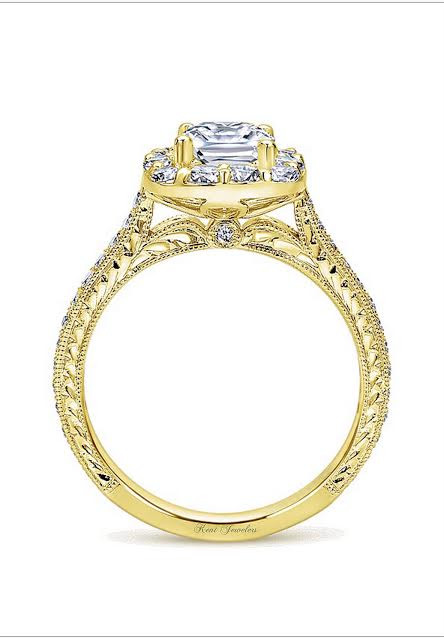 14kt Yellow Gold Cushion Cut Halo Engagement Ring