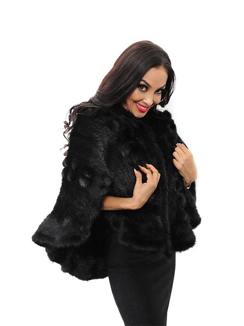 BIG KNITTED MINK CAPE
