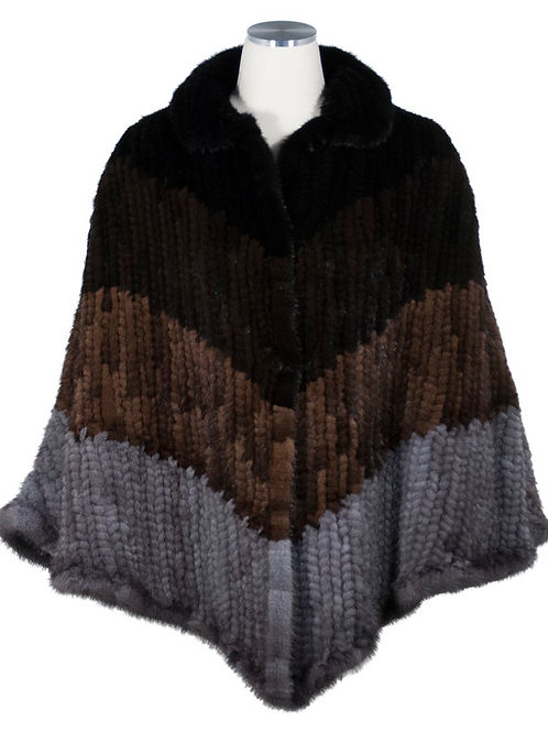 Knitted mink cape