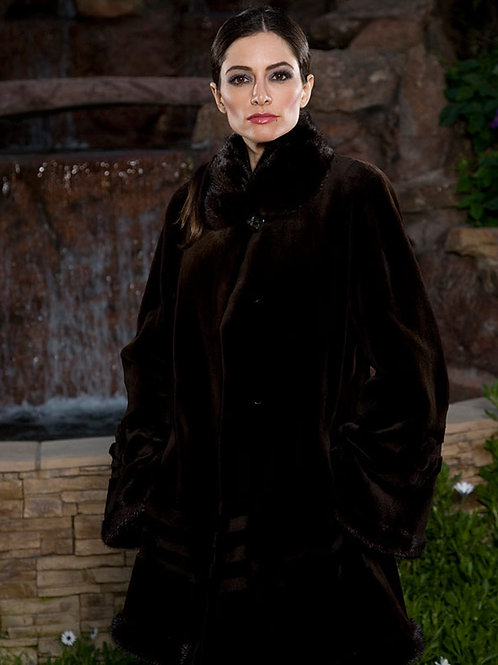 Mink Coat with Sheared Mink Rosette
