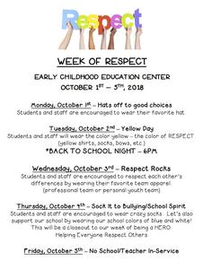 Week of Respect calendar of events