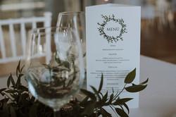 Table arrangement with menu card