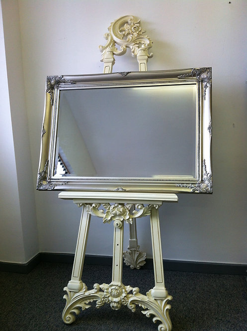 Antique White Easel & Mirror