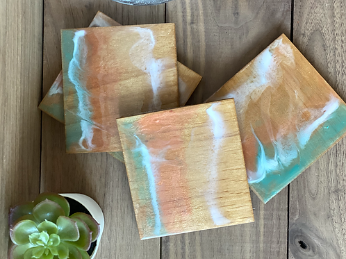 Resin Sunset Coasters (maple plywood base)