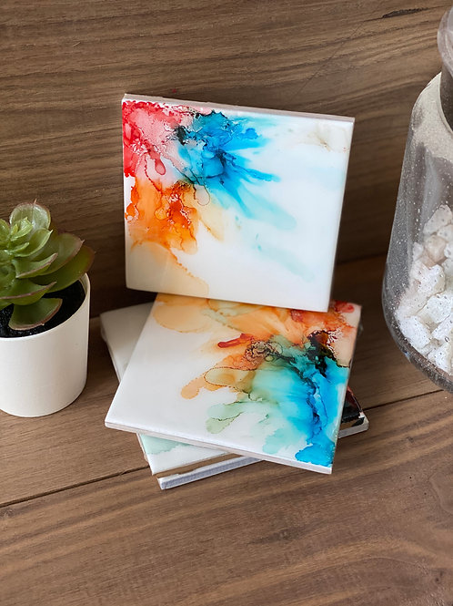 Alcohol Ink Coasters (red/tangerine/blue)