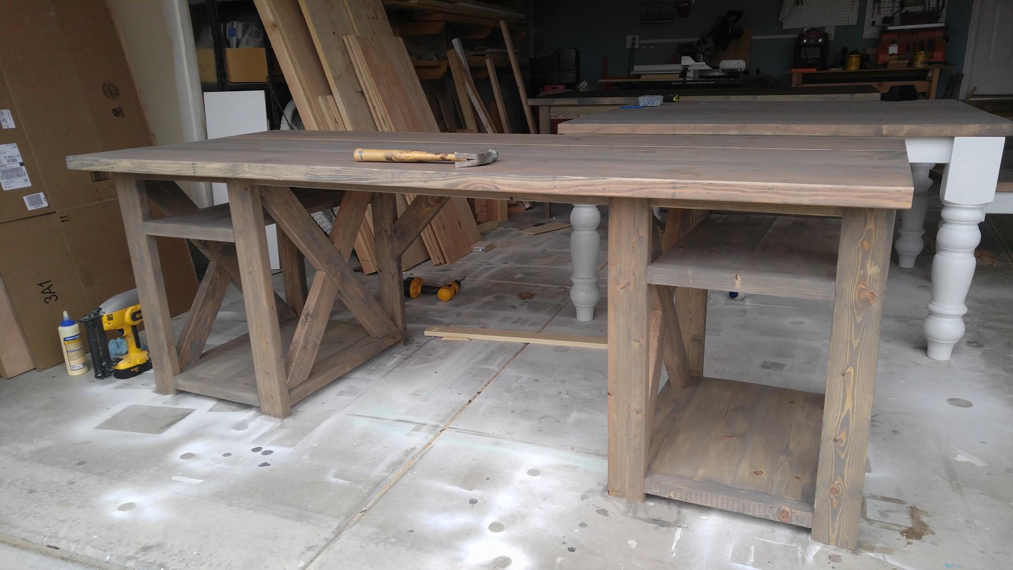 farmhouse x leg desk