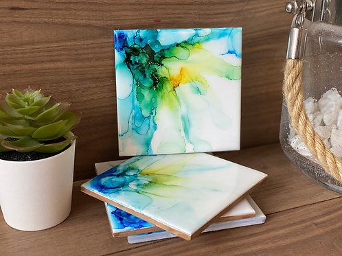 Alcohol Ink Coasters (Blue/Green)