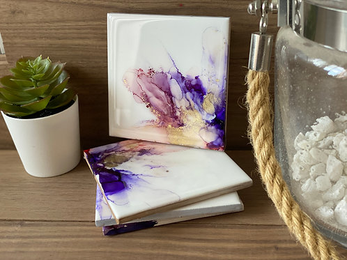 Alcohol Ink Coasters (Purple/gold)