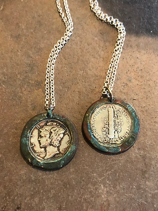 Mercury Coin Necklace - Green Patina