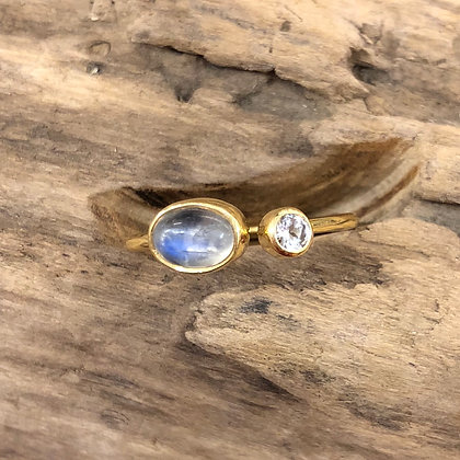 Moonstone and Topaz Ring