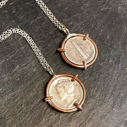 Mercury Coin Necklace - Copper