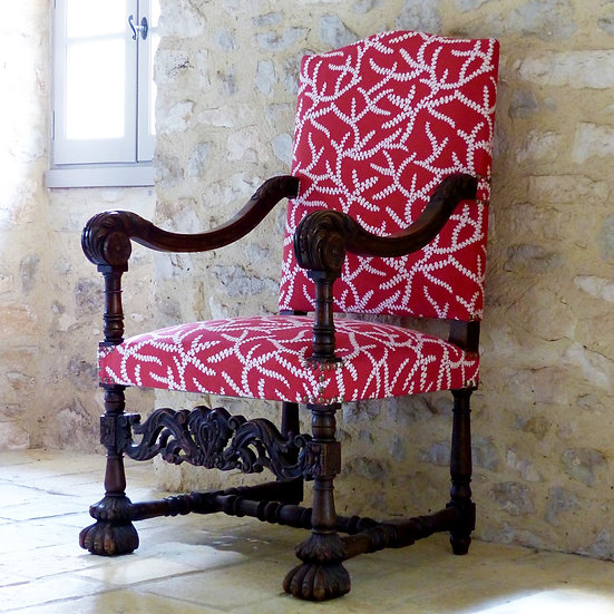 Antique French Louis XIV Throne Chair - sold