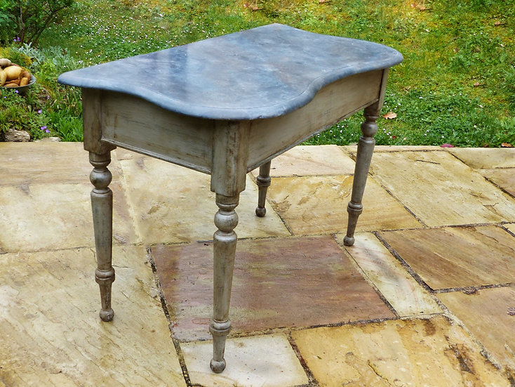 Antique pine kidney-shaped side table