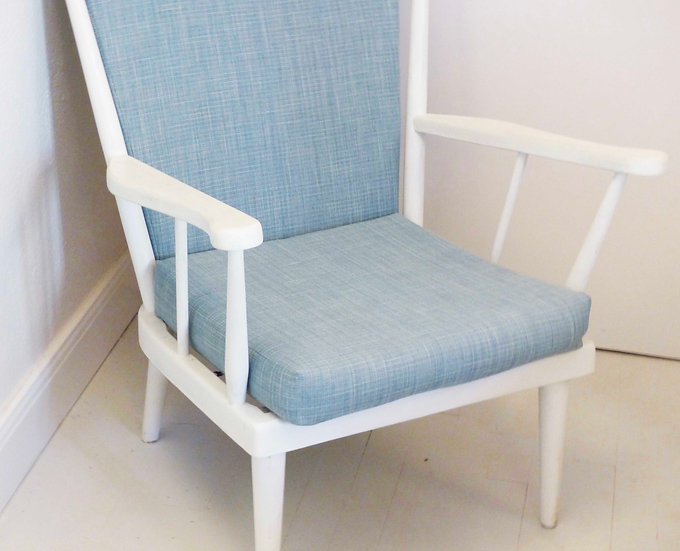 Painted oak spindle backed Armchair with cushions