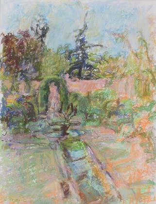 Italian Garden Fountain (14x11, pastel; 2005)