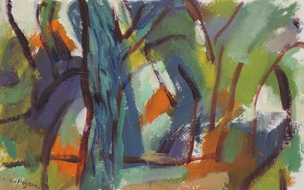 Woods, Autumn (5x8, oil; 2016)
