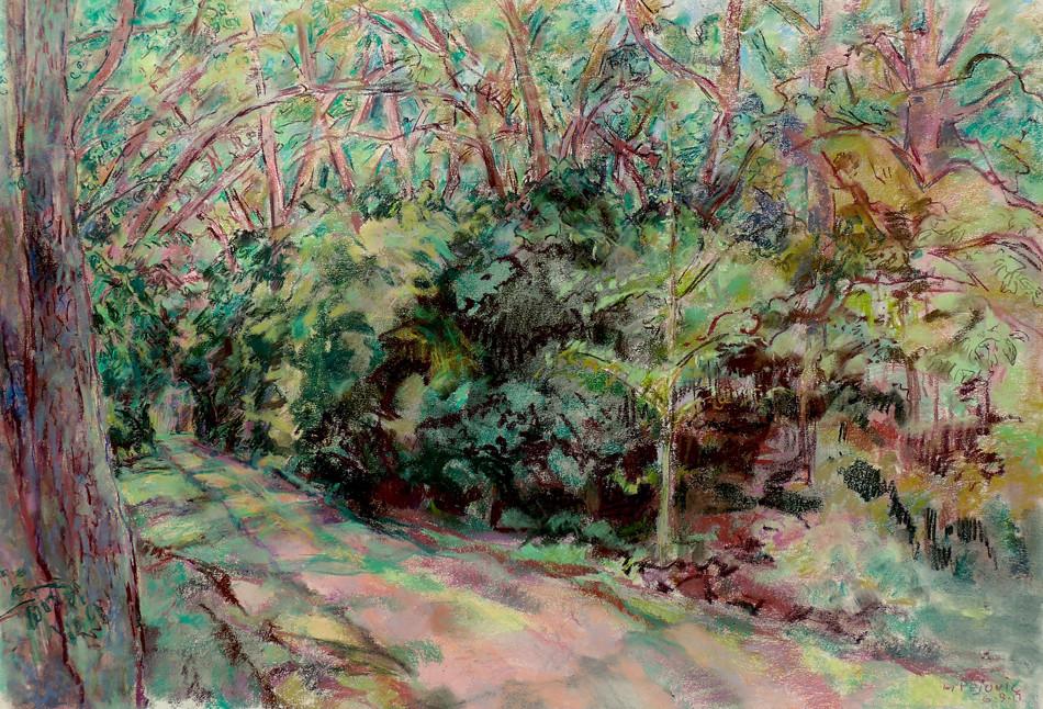 Linwood Path (32x40, pastel; 2018)