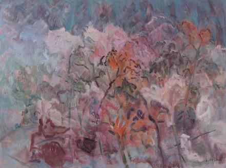 Lilies and Rain (36x48, oil; 2019)