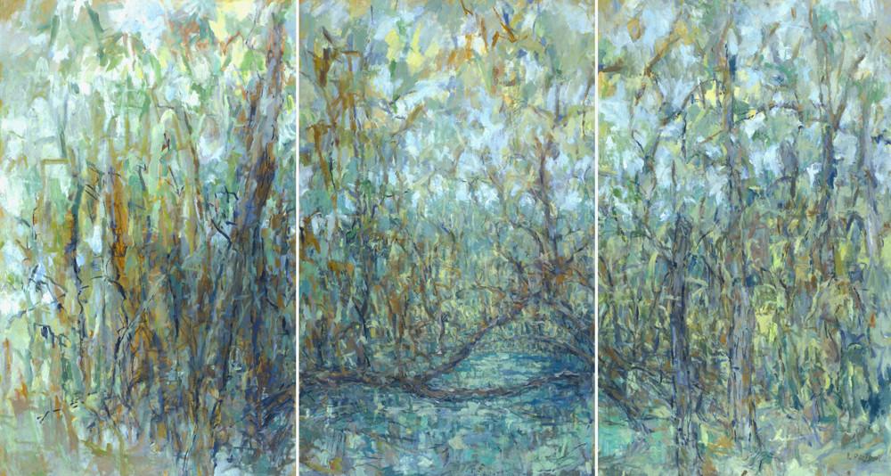 Pond Triptych (60x111, mixed media; 2001)