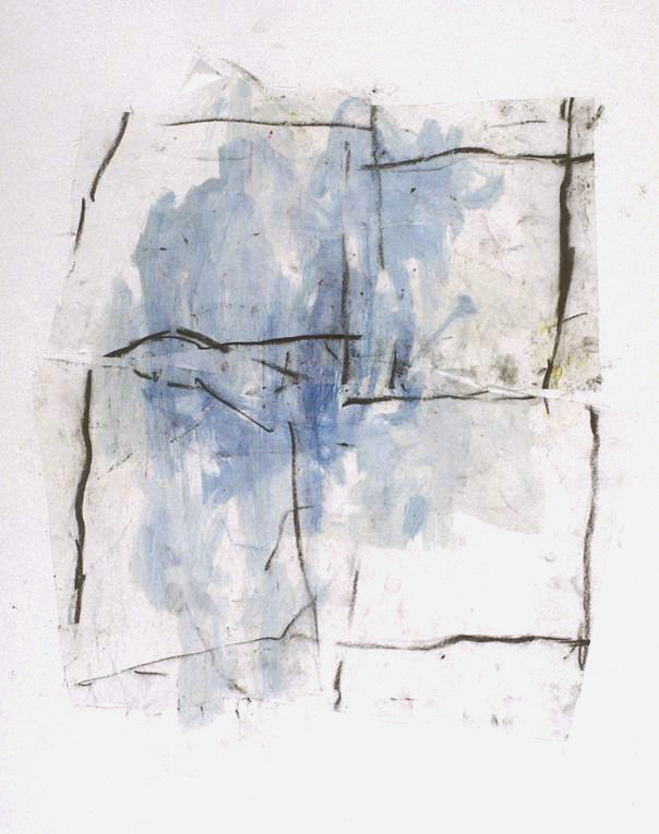 Blue Window (26x21, mixed media collage; 2001)