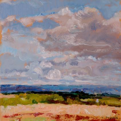 Genesee Valley Clouds (12x12, oil; 2018)