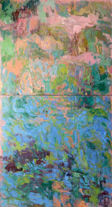 Italian Garden, Reverie (30x36, diptych, oil; 2012)