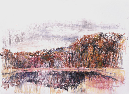 Round Pond in Autumn (22x30, pastel; 1999)