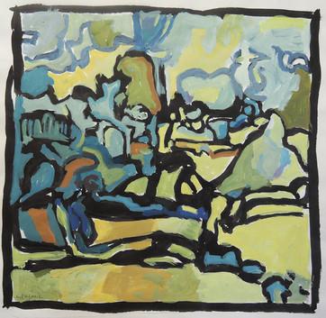Locust Tree (7x8, acrylic; 2008)