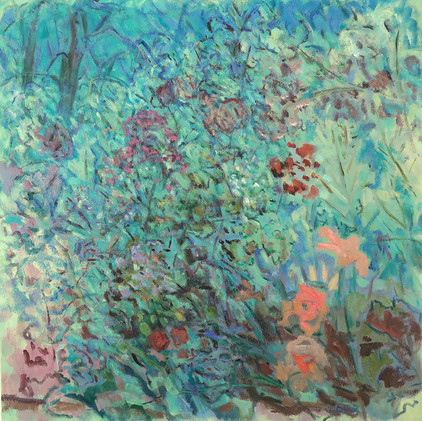 A Garden Conversation (36x36,  oil; 2019)