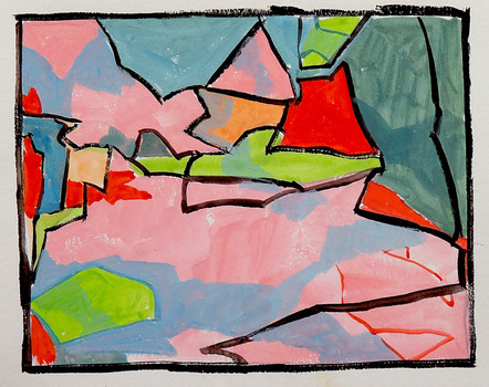 Floating Hearts (9x11, acrylic; 2007)