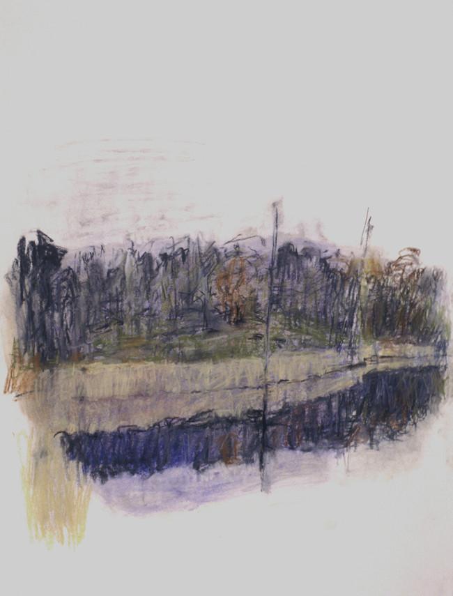 Round Pond in Rain (30x22, pastel; 1999)