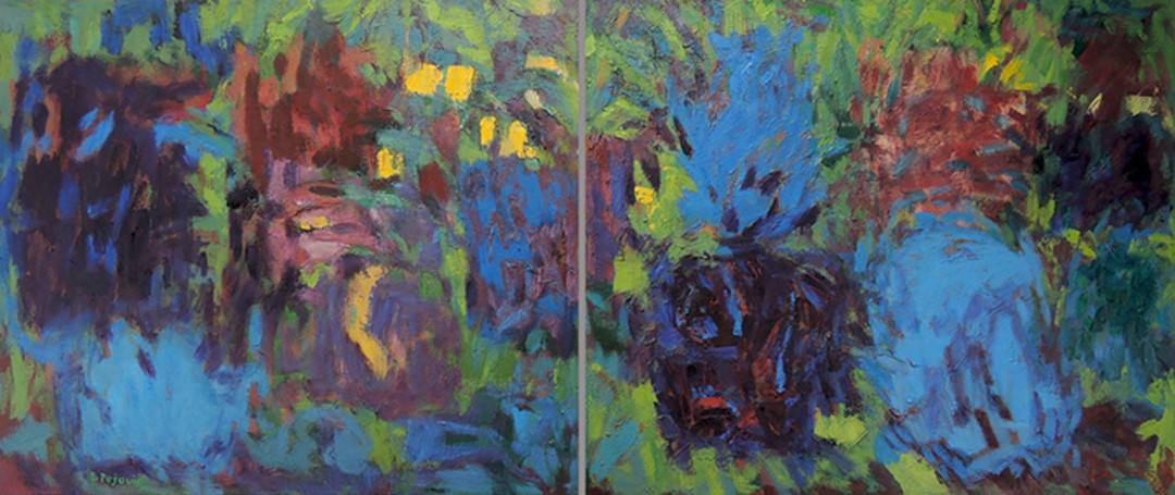 Night Music in the Garden (30x72, diptych, oil; 2012)