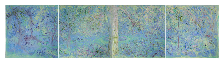 Lily Fountain Quartet (36x144, oil; 2019)