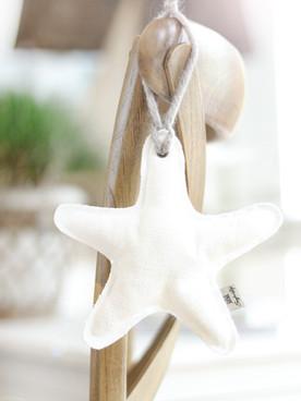 Seestern aus Leinen Weiß