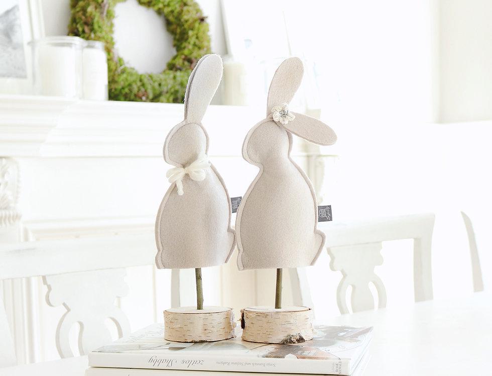 """Deko-Hasen """"Mr. & Mrs. Hoppel"""" Pastell-Taupe als 2-er Set"""