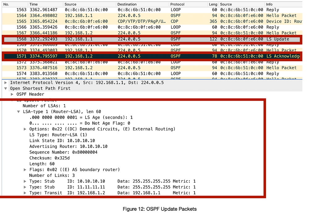 OSPF Pakete, hello and acknowledge