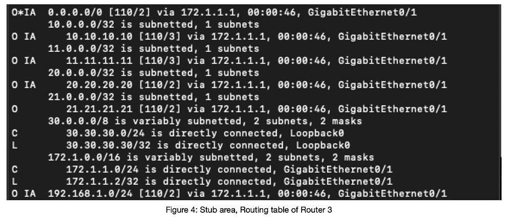 Routingtabelle Router 3 OSPF stub Area