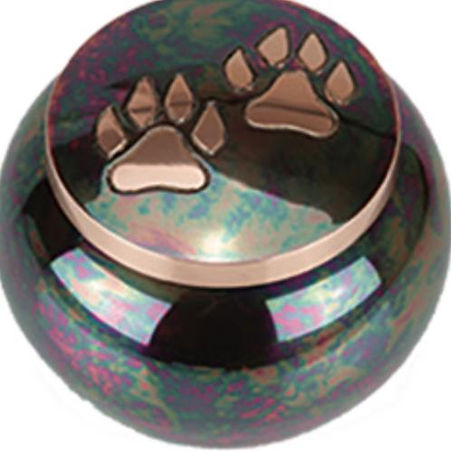 Brass Raku Paw Print Jar Urn