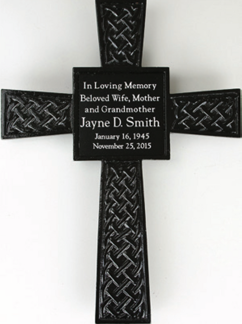 Steel Powder-Coated Cross with Plastic Engraved Weather-Resistant Nameplate
